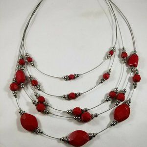 Red Silver Tone Five Chain Beaded Necklace